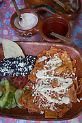 Chilaquiles, (Mexican breakfast nachos), El Tuito, Costalegre, Jalisco, Mexico