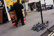 A movie industry 'standee' (a display board placed in cinema foyers) is carried past pigeons through London's Soho after use. All watched by a girl with binoculars ..