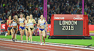 Laura Weightman on her way to win the womens 1500m at the Sainsbury's Anniversary Games at the Queen Elizabeth II Olympic Park, London, United Kingdom on 24 July 2015. Photo by Mark Davies.