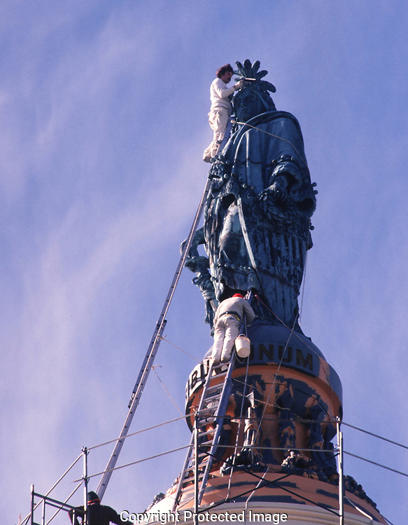 Lady Freedom statue on the top of the US. Capitol. The curators wanted to take a close look at Lady Freedom before deciding to remove the statue for restoration and cleaning.  They did decide to take the statue down and on May,13,1993 it was removed.<br />Photo by Dennis Brack