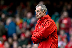 Rob Howley Attck Coach of Wales during the pre match warm up<br /> <br /> Photographer Simon King/Replay Images<br /> <br /> Six Nations Round 5 - Wales v Ireland - Saturday 16th March 2019 - Principality Stadium - Cardiff<br /> <br /> World Copyright © Replay Images . All rights reserved. info@replayimages.co.uk - http://replayimages.co.uk