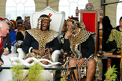 Ulundi 270818: His Royal Highness Prince Mangosuthu Buthelezi has a good laugh with King Goodwill Zwelithini at his 90th Birthday held at Prince Mangosuthu Buthelezi stadium in Ulundi where thousands came to celebrate.<br /> Picture:Sibonelo Ngcobo/ African News Agency (ANA)