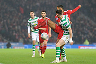 A backheeler from Shay Logan during the Betfred Cup Final between Celtic and Aberdeen at Hampden Park, Glasgow, United Kingdom on 2 December 2018.
