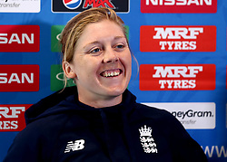 Heather Knight of England Women takes part in a Press Conference ahead of her side's World Cup Group Match against New Zealand Women - Mandatory by-line: Robbie Stephenson/JMP - 11/07/2017 - CRICKET - Bristol County Ground - Bristol, United Kingdom - England v New Zealand - ICC Women's World Cup