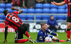 Billy McKay of Oldham Athletic reacts after being fouled by Abu Ogogo of Shrewsbury Town  - Mandatory by-line: Matt McNulty/JMP - 03/09/2016 - FOOTBALL - Sportsdirect.com Park - Oldham, England - Oldham Athletic v Shrewsbury Town - Sky Bet League One
