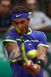 June 2, 2017 - Paris, France - Spain's Rafael Nadal returns the ball to Georgia's Nikoloz Basilashvili during their tennis match at the Roland Garros 2017 French Open on June 2, 2017 in Paris. (Credit Image: © Mehdi Taamallah/NurPhoto via ZUMA Press)