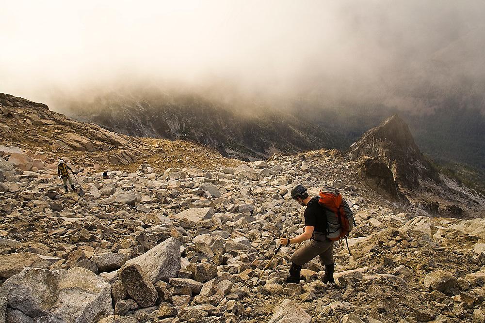 Climbers descend the Cascadian Couloir route on Mount Stuart, Alpine Lakes Wilderness, Washington.