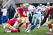 San Francisco 49ers kicker Phil Dawson (4) kicks an extra point against the Dallas Cowboys at Levis Stadium in Santa Clara, Calif., on October 2, 2016. (Stan Olszewski/Special to S.F. Examiner)