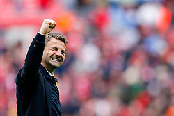 Aston Villa Manager Tim Sherwood celebrates after Aston Villa win the match 2-1 to reach the 2015 FA Cup Final - Photo mandatory by-line: Rogan Thomson/JMP - 07966 386802 - 19/04/2015 - SPORT - FOOTBALL - London, England - Wembley Stadium - Aston Villa v Liverpool - FA Cup Semi Final.