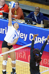 23 November 2017:  Odessa Cody attacks towards Damadj Johnson during a college women's volleyball match between the Drake Bulldogs and the Indiana State Sycamores in the Missouri Valley Conference Tournament at Redbird Arena in Normal IL (Photo by Alan Look)