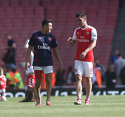 21 May 2017 London : Premier League - Arsenal v Everton :<br /> Arsenal players Alexis Sanchez and Mesut Ozil in conversation after the match.<br /> Photo: Mark Leech