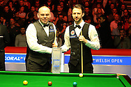 Stuart Bingham of England (l) and Judd Trump of England ® pose for a photo before the match.  Coral Welsh Open Snooker 2017, final match, Judd Trump of England v Stuart Bingham of England at the Motorpoint Arena in Cardiff, South Wales on Sunday 19th February 2017.<br /> pic by Andrew Orchard, Andrew Orchard sports photography.