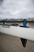 Mortlake/Chiswick, GREATER LONDON. United Kingdom Oxford University Women's Boat  Club, OUWBC vs Molesey BC,  Pre Boat Race Fixture, 2017 Boat Race, The Championship Course, Putney to Mortlake on the River Thames. Fin and Rudder combination. Hudson Boats<br /> <br /> Sunday  19/03/2017<br /> <br /> [Mandatory Credit; Peter SPURRIER/Intersport Images]