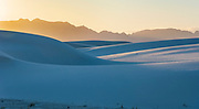 Sun sets on the gypsum dunes of White Sands National Monument, New Mexico