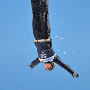 Ashle Caldwell (Lake Placid, NY) performs aerial acrobatics during the 2009 Sprint US Freestyle Championships held at the Utah Olympic Park in Park City on March 8, 2009. Caldwell scored 144.99 points on the day which was good enough for 4th place overall.