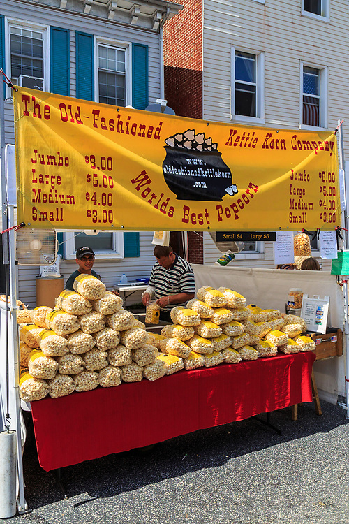 Mechanicsburg, PA, USA - June 21, 2018: Bags of Kettle Korn are for sale at the Jubilee Day, the largest, longest running, one-day street fair on the East Coast.