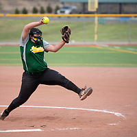 Adela Sena pitches for Thoreau during their varsity softball game against Rehoboth Thursday at Ford Canyon Park in Gallup.