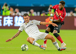 July 31, 2018 - Miami Gardens, FL, USA - Real Madrid midfielder Dani Ceballos (24) and Manchester United midfielder Fred (17) battle for the ball in the first half at Hard Rock Stadium in Miami Gardens, Fla., on Tuesday, July 31, 2018. Manchester United won, 2-1. (Credit Image: © Al Diaz/TNS via ZUMA Wire)