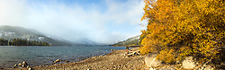 """""""Donner Lake Morning 20"""" - Stitched panoramic photograph of both Fall colors and a snowy Donner Summit at Donner Lake in Truckee, California."""
