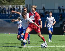 Nicolaj Thomsen (HIK) og Carl Lange (FC Helsingør) under træningskampen mellem FC Helsingør og HIK den 1. august 2020 på Helsingør Ny Stadion (Foto: Claus Birch).