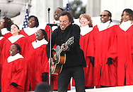 """Bruce Springsteen performs  at the """"We Are One""""  The Obama Inaugural Celebration at the Lincoln Memorial on January 18, 2009.   Photo by Dennis Brack"""