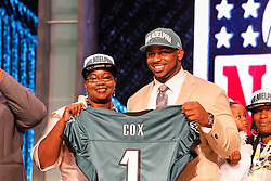 The Philadelphia Eagles first round Draft pick Fletcher Cox poses for a picture with a guest during the first round of the NFL Draft on April 26th 2012 at Radio City Music Hall in New York, New York. (AP Photo/Brian Garfinkel)