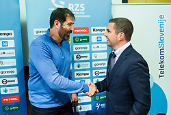 Veselin Vujovic, head coach of Slovenian National Handball Men Team with Tomaz Jontes of Telekom Slovenije during press conference of Slovenian Handball Federation RZS, on April 19, 2017 in Telekom Slovenije, Ljubljana, Slovenia. Photo by Vid Ponikvar / Sportida