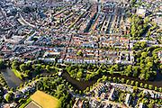 Nederland, Zuid-Holland, Leiden, 15-07-2012; zuidoostelijke binnenstad Leiden met Zoeterwoudsesingel en het Plantsoen..South part of the old town of Leiden, Zoeterwoudsesingel (canal).luchtfoto (toeslag), aerial photo (additional fee required).foto/photo Siebe Swart