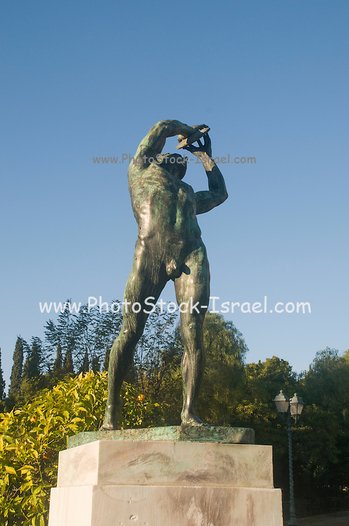 Statue of Discus Thrower in front of the Kalimarmaro Olympic Stadium Athens, Greece