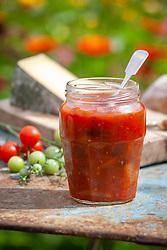 Jar of homemade tomato chutney