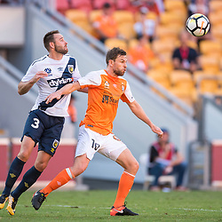 BRISBANE, AUSTRALIA - NOVEMBER 5: Josh Rose of the Mariners and Brett Holman of the Roar compete for the ball during the Round 5 Hyundai A-League match between Brisbane Roar and Central Coast Mariners on November 5, 2017 in Brisbane, Australia. (Photo by Patrick Kearney / Brisbane Roar FC)