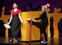 """Catherine McLaughlin as """"The Cat in the Hat"""" with Kayla Zarella as """"Mayzie la Bird"""" during final dress rehearsal for """"Seussical"""" beginning Thursday evening through Saturday at the GHS auditorium at 7pm with an additional matinee Saturday at 2pm.  (Karen Bobotas/for the Laconia Daily Sun)"""