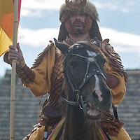 Participant attends the European Open Championship of Horseback Archery in Veroce, about 60 km (37 miles) north of the capital Budapest, Hungary on August 31, 2012. ATTILA VOLGYI