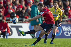 December 9, 2018 - Limerick, Ireland - JJ Hanrahan of Munster kicks a penalty during the Heineken Champions Cup Round 3 match between Munster Rugby and Castres Qlympique at Thomond Park Stadium in Limerick, Ireland on December 9, 2018  (Credit Image: © Andrew Surma/NurPhoto via ZUMA Press)