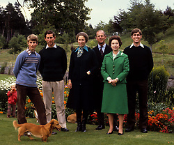 File photo dated 01/09/1979 of (left to right) Prince Edward, the Prince of Wales, the Princess Royal, the Duke of Edinburgh, Queen Elizabeth II and Prince Andrew. The Queen and Prince Philip will celebrate their platinum wedding anniversary on November 20.