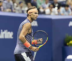 September 4, 2018 - New York, New York, United States - Rafael Nadal of Spain reacts during US Open 2018 quarterfinal match against Dominic Thiem of Austria at USTA Billie Jean King National Tennis Center (Credit Image: © Lev Radin/Pacific Press via ZUMA Wire)
