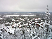 View of the village of Sirkka from Levi fell in Finnish Lapland on 16th February 2020. Levi is a winter sports paradise with 43 ski slopes, 230 km of cross-country ski trails, 20km of Winter hiking routes and 886 km of snowmobile trails.