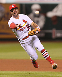 August 22, 2017 - St Louis, MO, USA - St. Louis Cardinals third baseman Greg Garcia is unable to throw out the San Diego Padres' Jose Pirela on an infield single in the fourth inning on Tuesday, Aug. 22, 2017, at Busch Stadium in St. Louis. (Credit Image: © Chris Lee/TNS via ZUMA Wire)