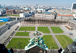 View of the Lustgarten square from Berlin Cathedral with religious  statue decoration in foreground 2009