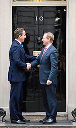 © Licensed to London News Pictures. 12/01/2012. London, UK. British Prime Minister David Cameron meeting The Taoiseach (Head of Irish government) Enda Kenny on the steps of 10 Downing Street on January 12th, 2012. Photo credit : Ben Cawthra/LNP
