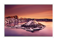 Winter dawn over Crater Lake and Wizard Island, Crater Lake National Park Oregon USA