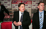 BNP leader Nick Griffin at the BNP meeting in Elm Park, Essex. The British National Party are a far right wing political party whose presence on the political stage is highly controversial due to their allegedly racist / fascist viewpoint.
