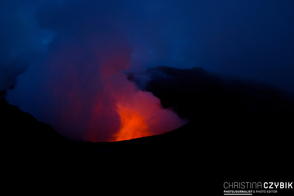 Active Volcano Mount Yasur in the Island Tanna in Vanuatu