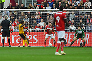 Goal - Ivan Cavaleiro (7) of Wolverhampton Wanderers scores a goal to give a 0-1 lead to the away team  during the The FA Cup 5th round match between Bristol City and Wolverhampton Wanderers at Ashton Gate, Bristol, England on 17 February 2019.