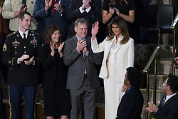 January 30, 2018 - Washington, District Of Columbia, U.S. - First Lady MELANIA TRUMP enters the Senate Chamber prior to the State Of The Union Address delivered by United States President DONALD J. TRUMP at the United States Capitol. (Credit Image: © Alex Edelman via ZUMA Wire)