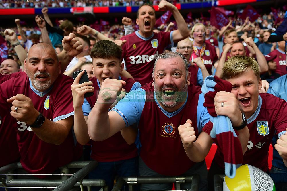 May 27, 2019 - London, England, United Kingdom - Aston Villa supporters celebrate during the Sky Bet Championship match between Aston Villa and Derby County at Wembley Stadium, London on Monday 27th May 2019. (Credit: Jon Hobley   MI News) (Credit Image: © Mi News/NurPhoto via ZUMA Press)