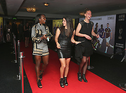 (L-R) Arsenal Ladies' Danielle Carter, Danielle Van de Donk and Sari van Veenendaal arriving for the Professional Footballers' Association Awards 2017 at the Grosvenor House Hotel, London