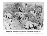 """The North Sea Commissioners make a thorough investigation on the Dogger Bank. [""""The only circumstantial evidence of the presence of Japanese torpedo boats is at the bottom of the North Sea, whither the Commission of Inquiry cannot transfer its investigation without serious inconvenience."""" - Times, Jan. 10.] (an Edwardian cartoon shows deep sea diver investigators at the sea bed looking in vain for Japanese torpedo boats and making enquiries with lobsters and fish)"""
