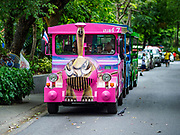17 AUGUST 2018 - BANGKOK, THAILAND:   A tram takes zoo goers around Dusit Zoo in Bangkok. The zoo opened in 1938. The zoo grounds were originally the Dusit Royal Garden. The zoo is scheduled to close by the end of August 2018 because it is being relocated to Nakhon Pathom province, south of Bangkok.     PHOTO BY JACK KURTZ
