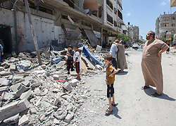 © Licensed to London News Pictures. 17/07/2014. Gaza.   <br /> The home of the Al Yasje family which was destroyed in an Israeli airstrike in the Jabalaya district of Gaza.  No one was killed in the attack and the family received a warning to evacuate.   Photo credit: Alison Baskerville/LNP